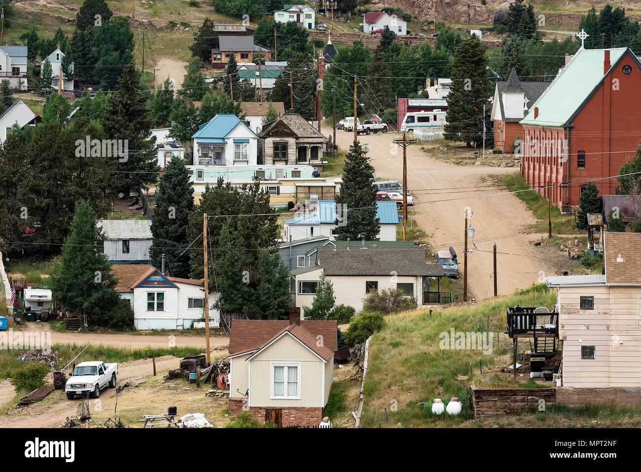 Logements pour les personnes à faible revenu dans l'ancienne ville minière de Victor, Colorado, USA. Photo Stock