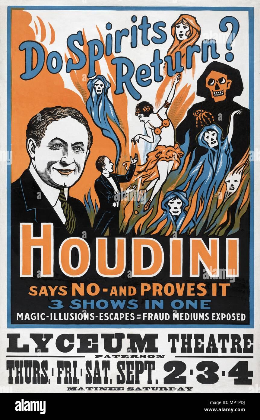 Retour les esprits? Houdini dit non - et prouve qu'il', Lyceum Theatre, 1909. Banque D'Images