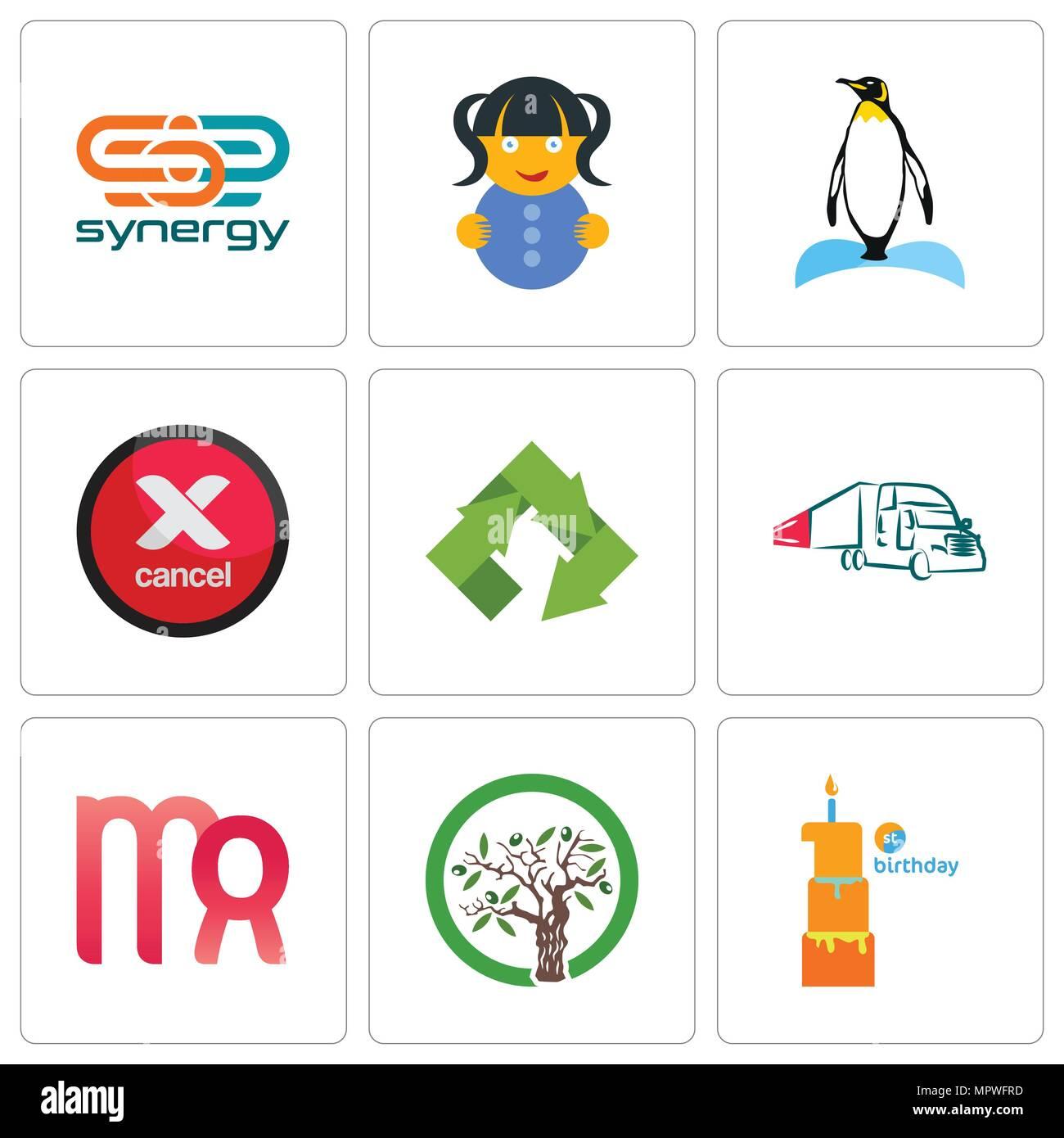 Ensemble De 9 Icones Modifiable Simple Comme Le Premier Anniversaire