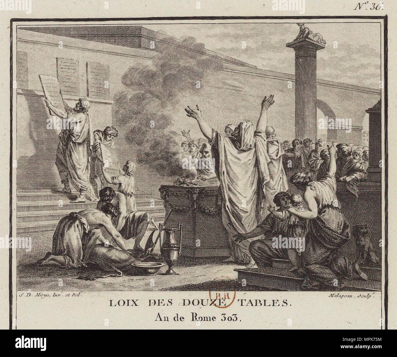 La Loi des Douze Tables (Leges Duodecim Tabularum ou Duodecim Tabulae), 1799. Photo Stock