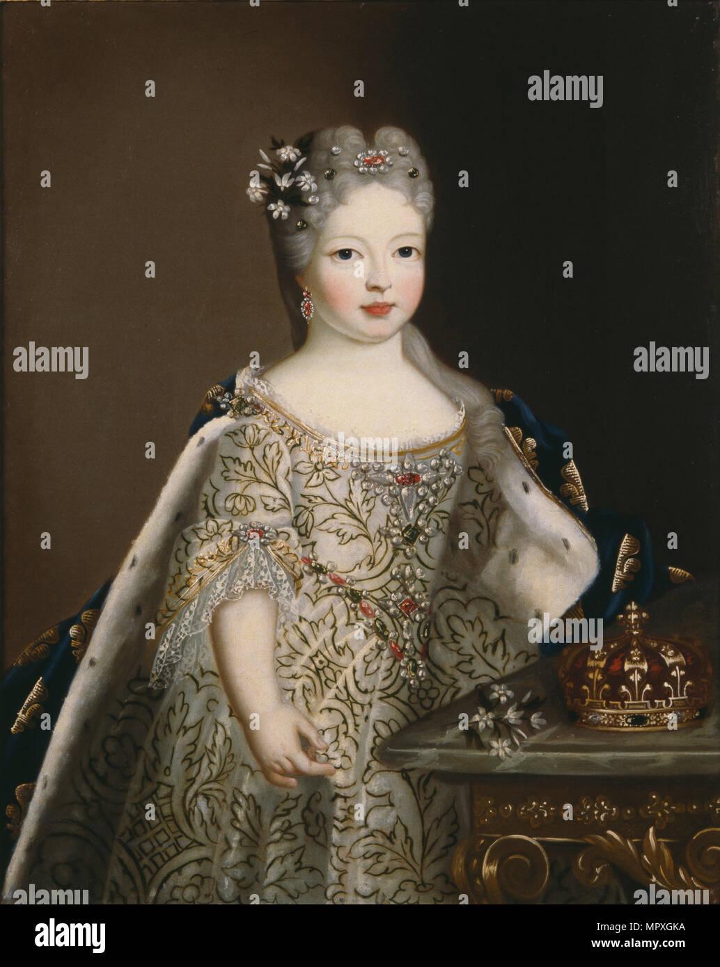 Portrait de l'Infante Mariana Victoria d'Espagne (1718-1781), reine de Portugal. Photo Stock