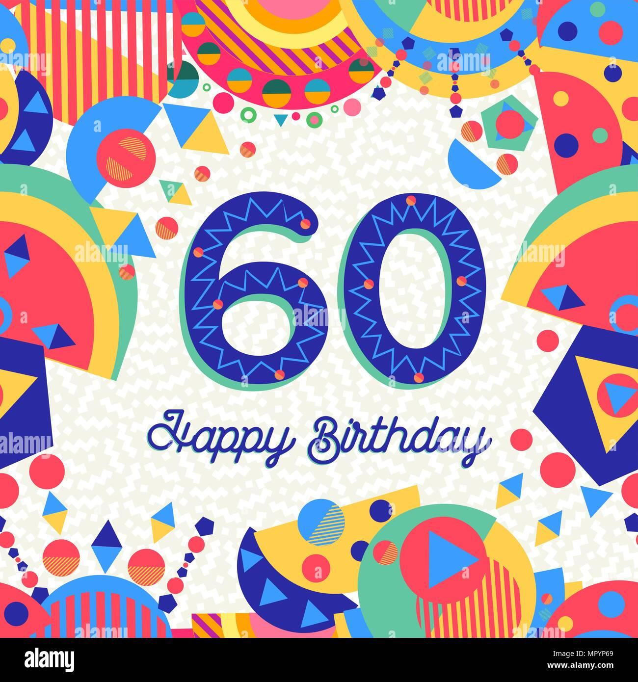 Joyeux Anniversaire 60 Ans 60 Design Avec étiquette De Texte
