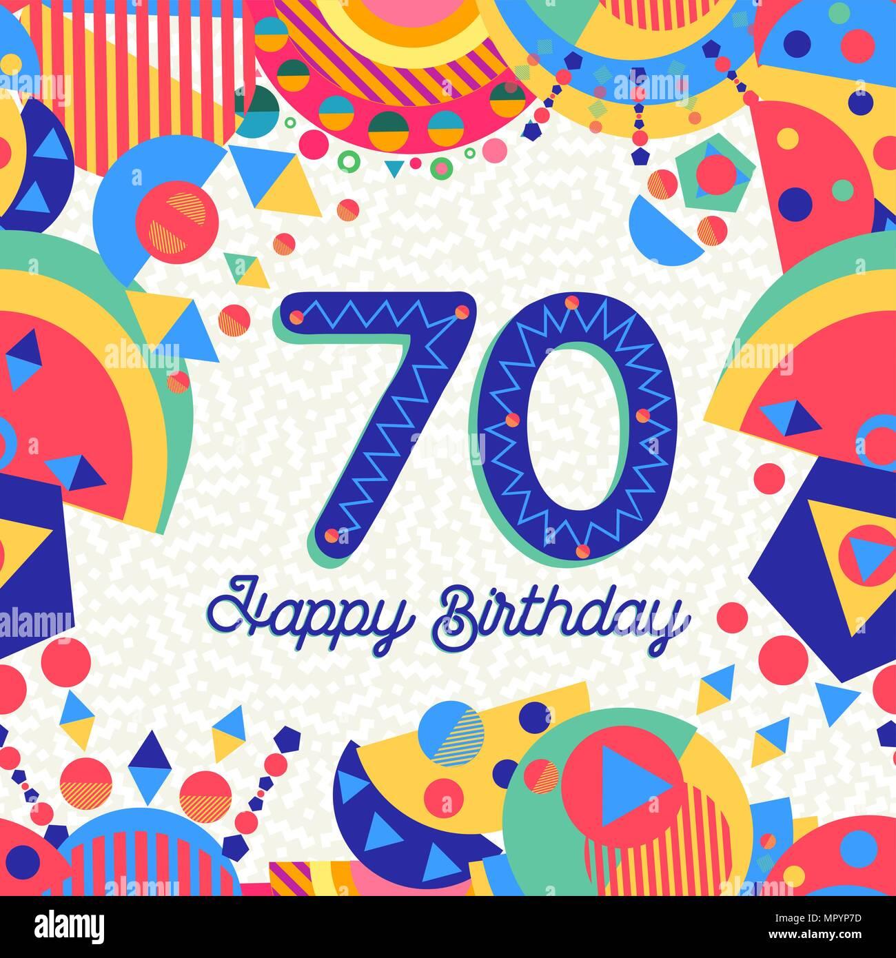 Joyeux Anniversaire 70 Ans 70 Design Amusant Avec Etiquette De Texte