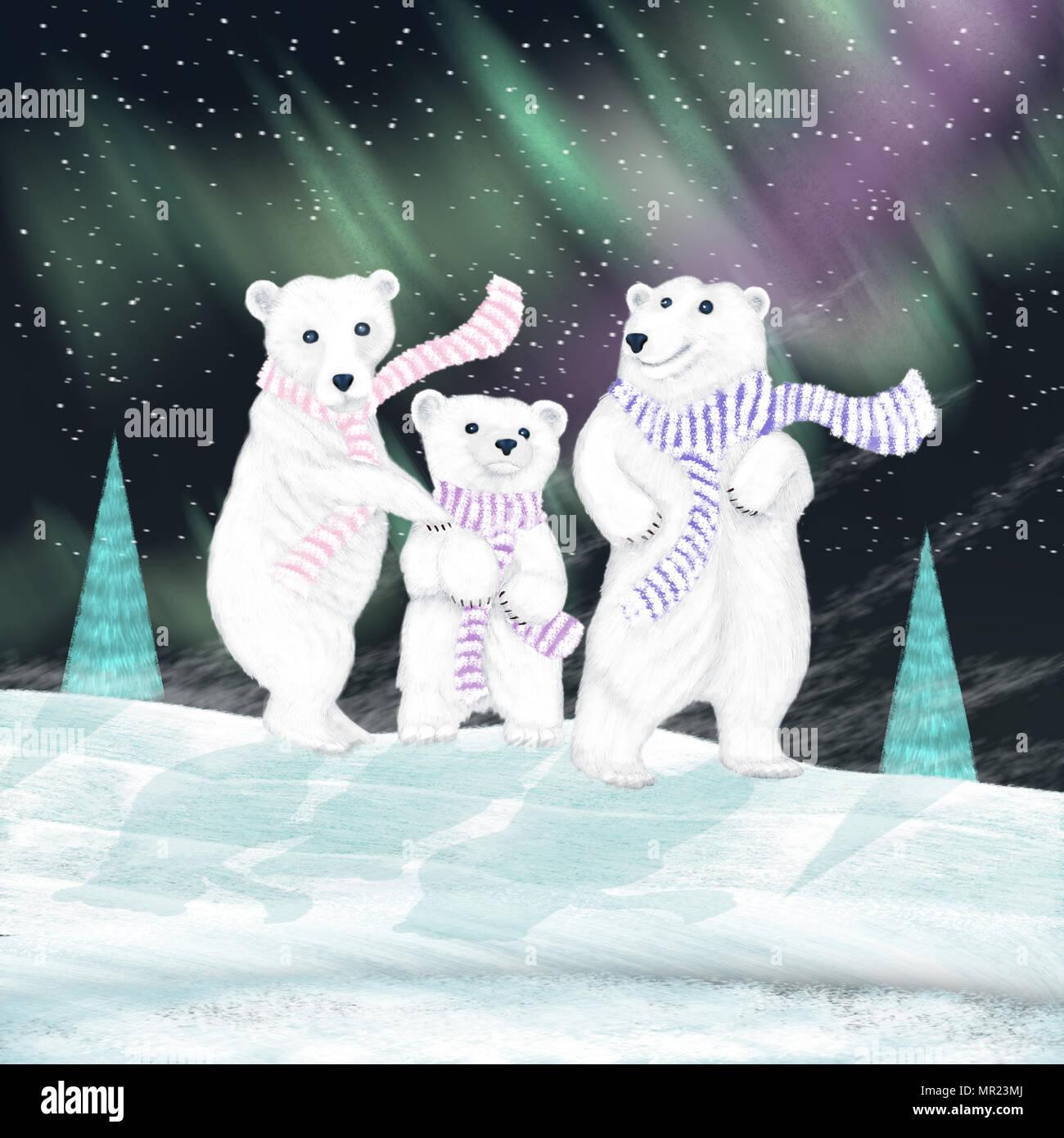Une Illustration D Une Famille D Ours Blancs Portant Des Foulards