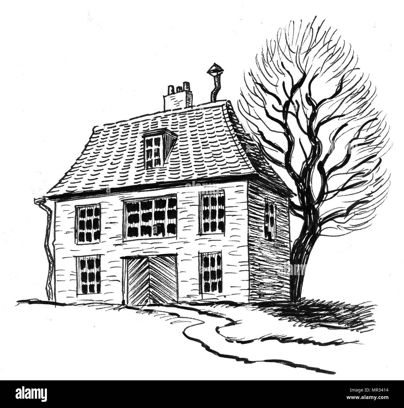 Maison En Ruine Dessin vieille maison et arbre. dessin noir et blanc encre banque d