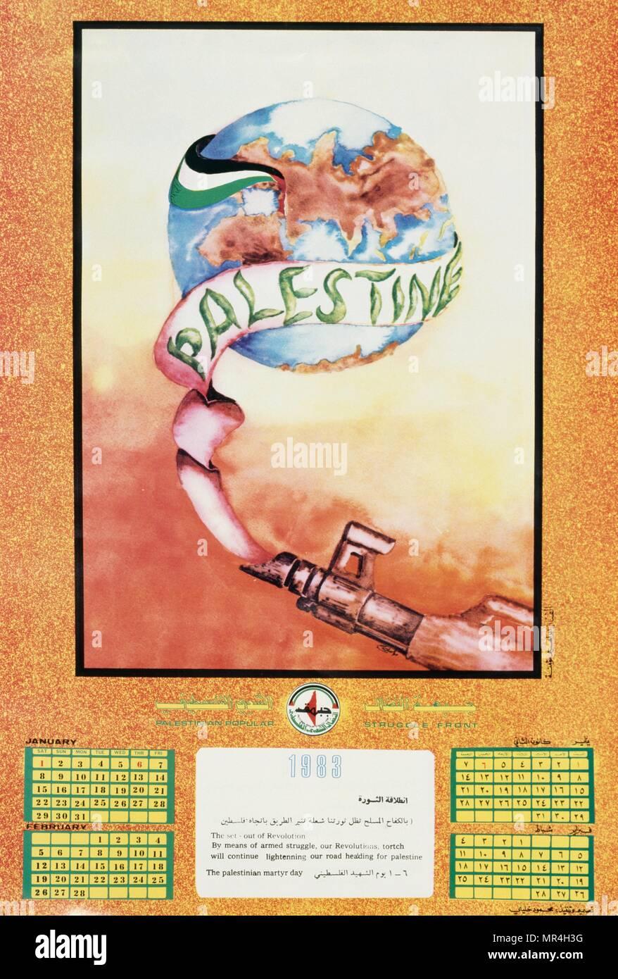 L'Organisation de libération de la Palestine (OLP) calendrier de la propagande contre le processus de paix avec Israël 1983 Photo Stock