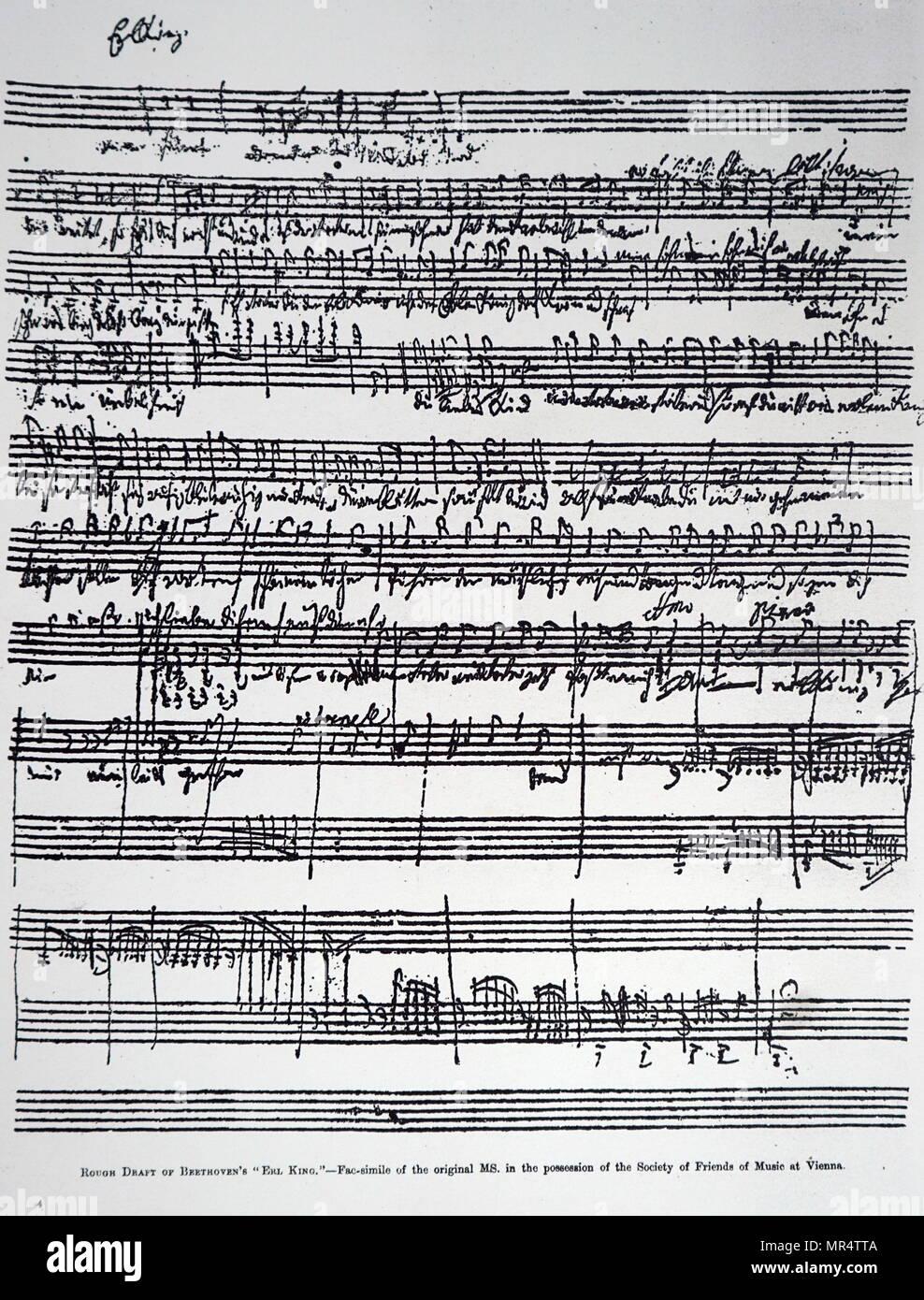 Projet de 'Beethoven' Erlkönig. Ludwig van Beethoven (1770-1827), un compositeur et pianiste allemand. En date du 19e siècle Photo Stock