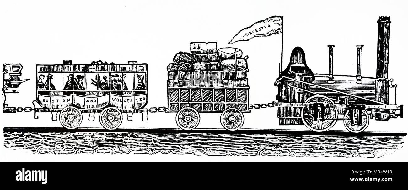 Gravure représentant un train de voyageurs et wagon à bagages sur le Boston et Worcester Railroad. En date du 19e siècle Photo Stock