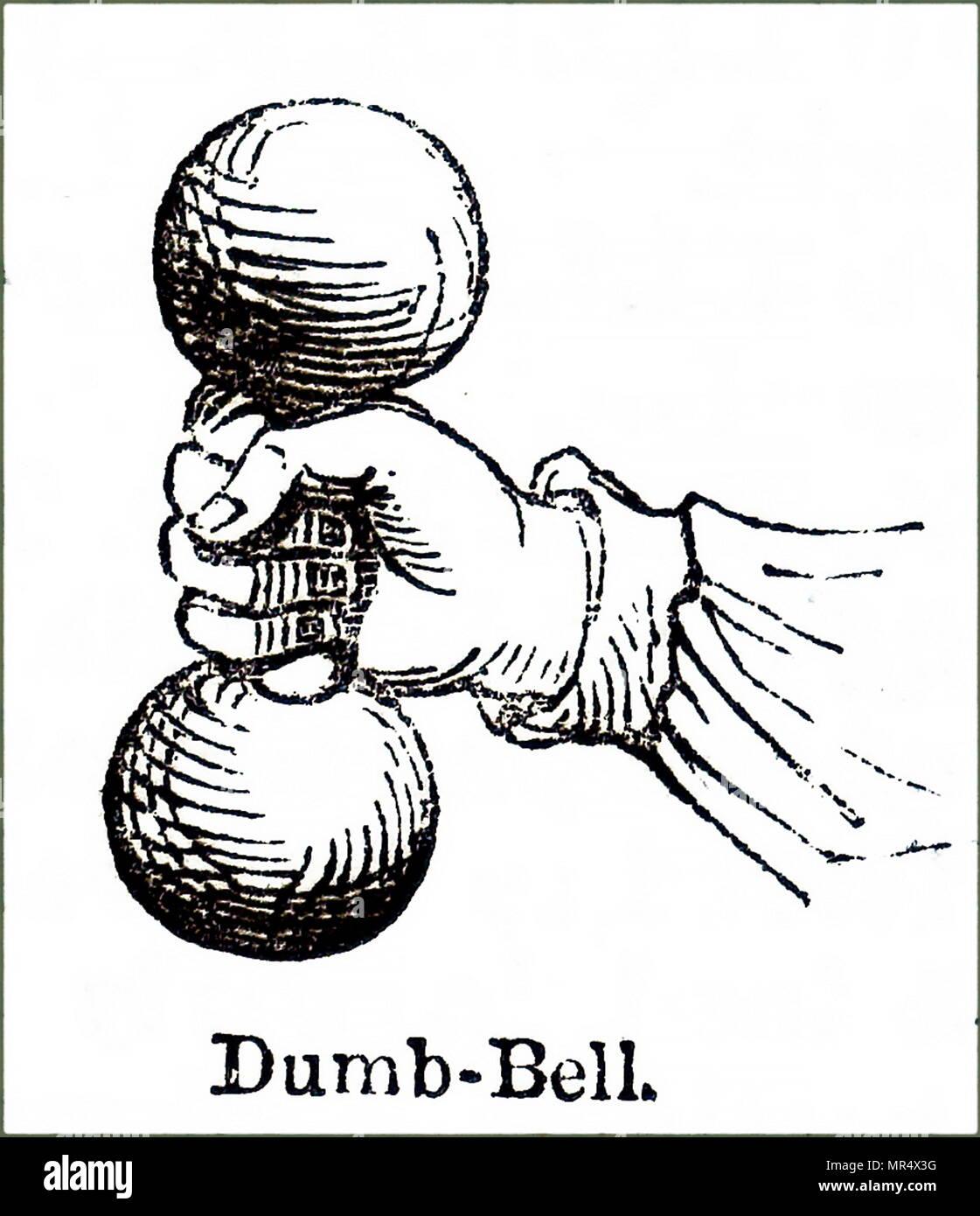 Illustration représentant un début de l'haltère, un type de poids libres, est une pièce d'équipement utilisé dans la formation de poids. En date du 19e siècle Photo Stock