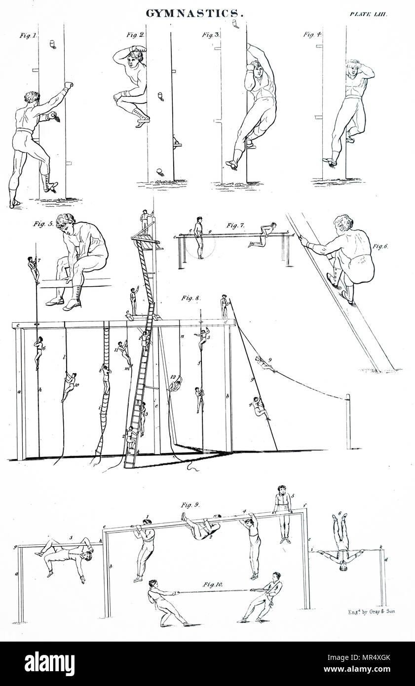 Illustration les garçons faisant de la gymnastique. En date du 19e siècle Photo Stock