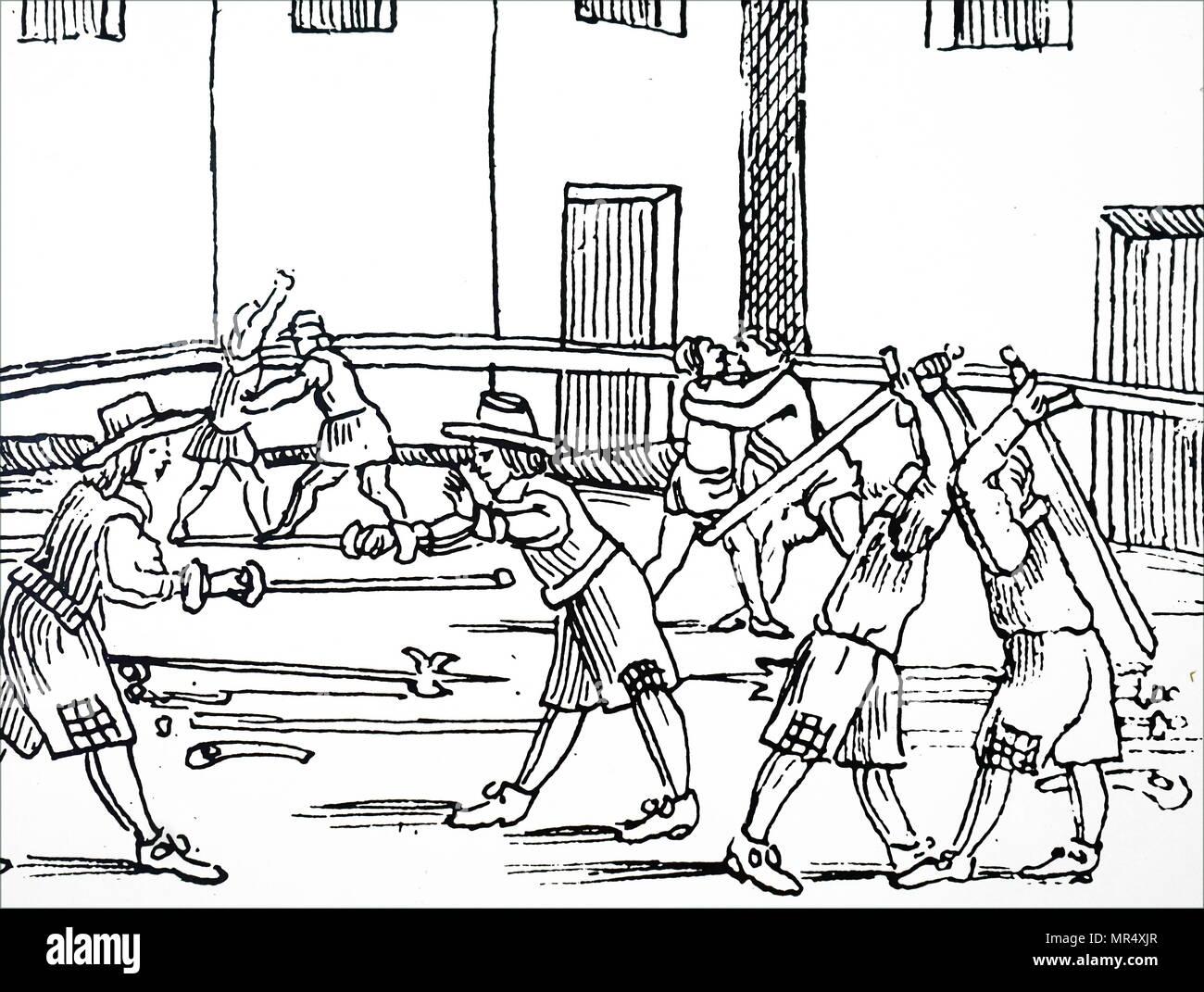 Impression gravure sur bois illustrant la pratique l'escrime. En date du 16e siècle Photo Stock