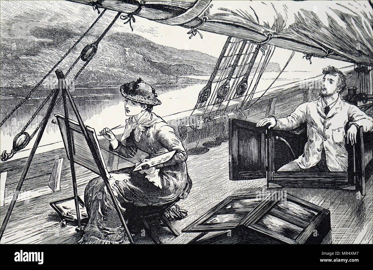 Illustration représentant une jeune femme peinture sur le pont d'un bateau qu'il navigue sur une rivière. En date du 19e siècle Photo Stock