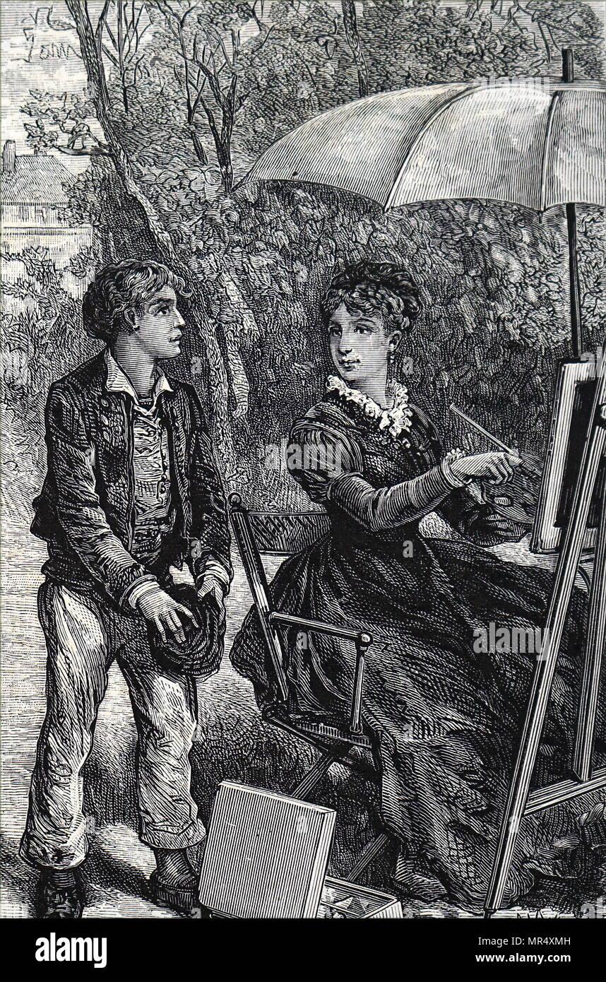 Illustration représentant une jeune femme peinture sous l'ombre de son parapluie. En date du 19e siècle Photo Stock