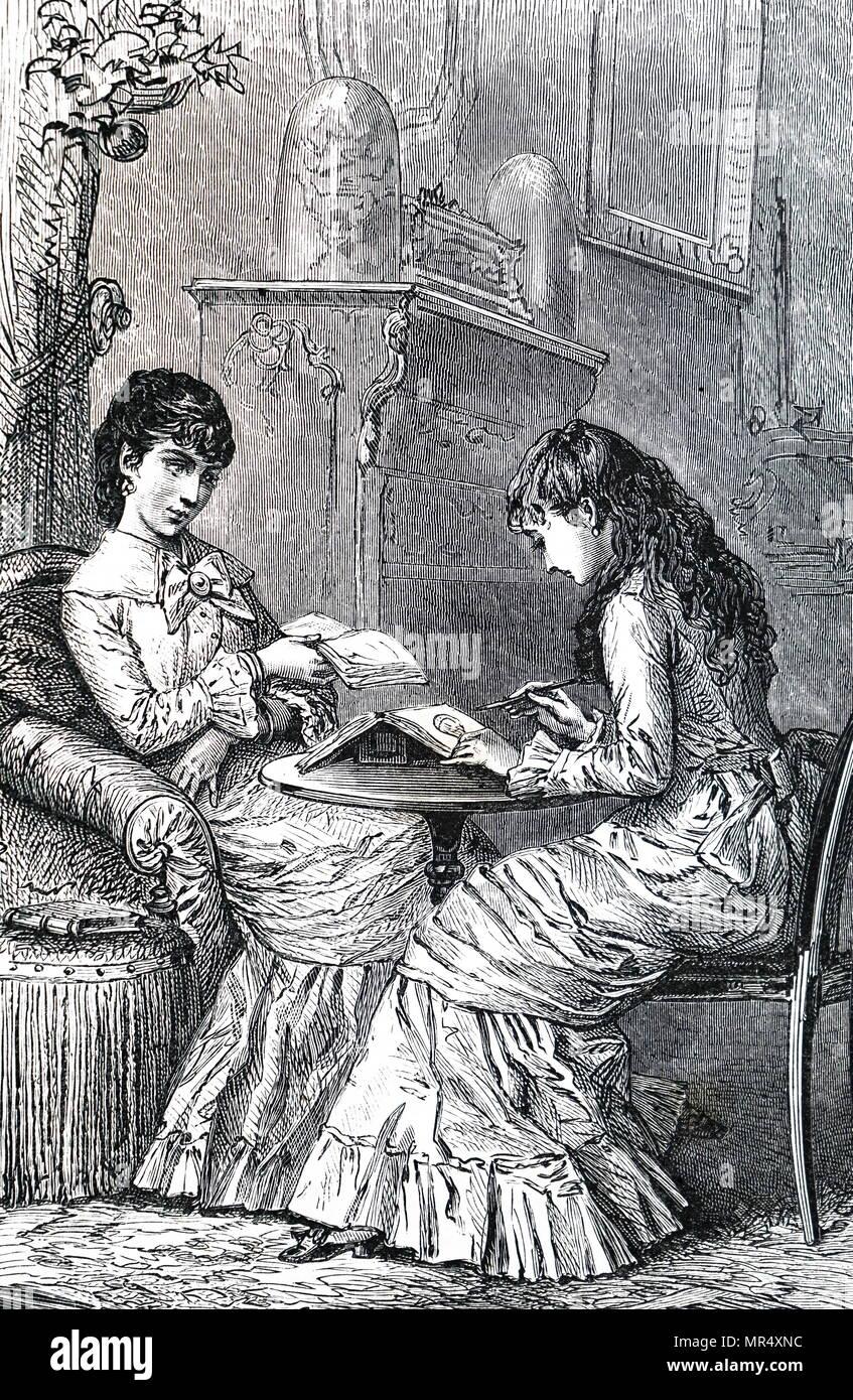 Illustration représentant une jeune femme peinture dans son journal. En date du 19e siècle Photo Stock