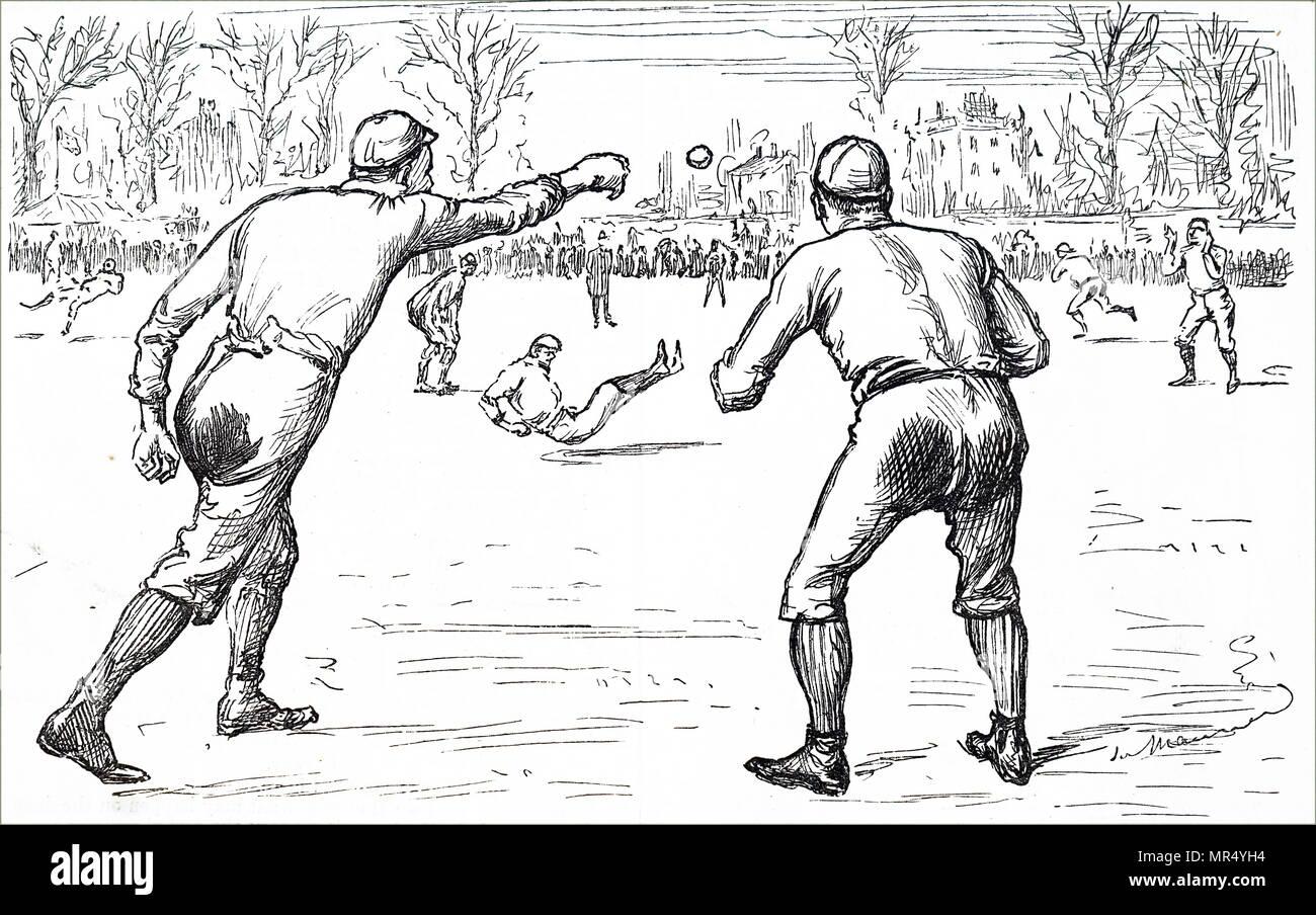 Illustration de jeunes hommes jouent au base-ball. En date du 19e siècle Photo Stock