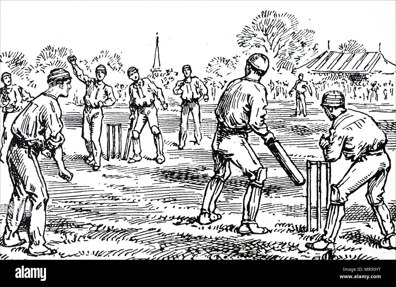 Illustration les hommes à jouer au cricket. En date du 19e siècle Photo Stock