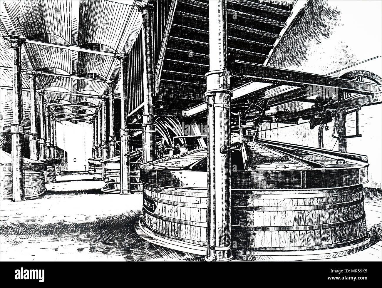 Gravure d'une scène de l'intérieur de la plus jeune WM & Co., Holyrood Brewery - la particuliarité de scène, où le malt et l'eau ont été bien mélangés ensemble. En date du 19e siècle Photo Stock