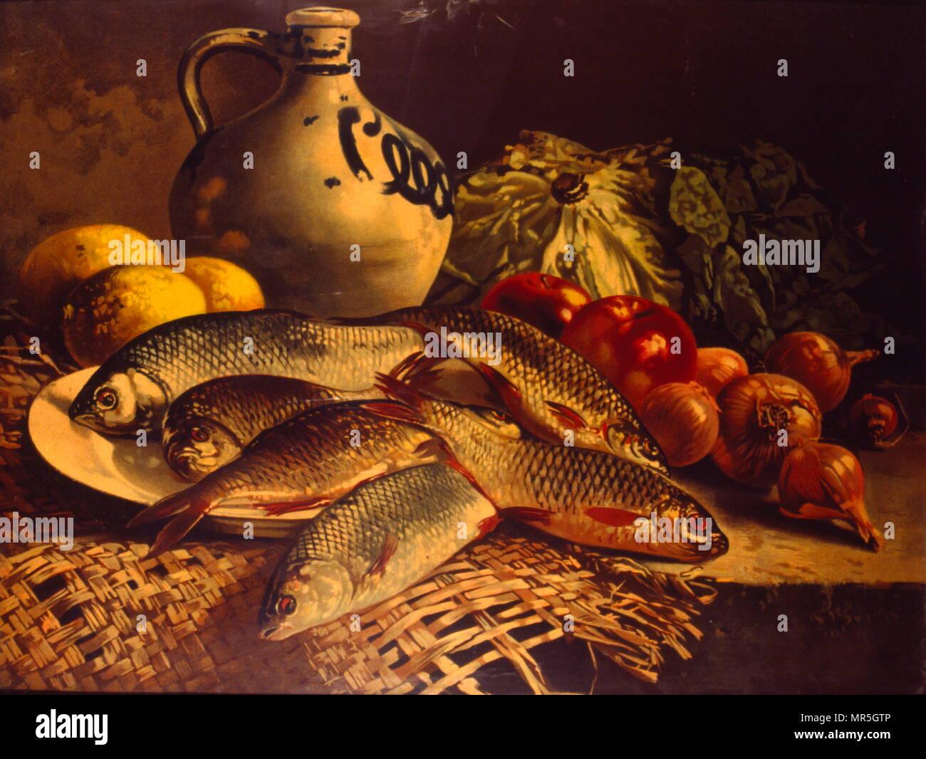 19e siècle français still life peinture. Vers 1870 Photo Stock