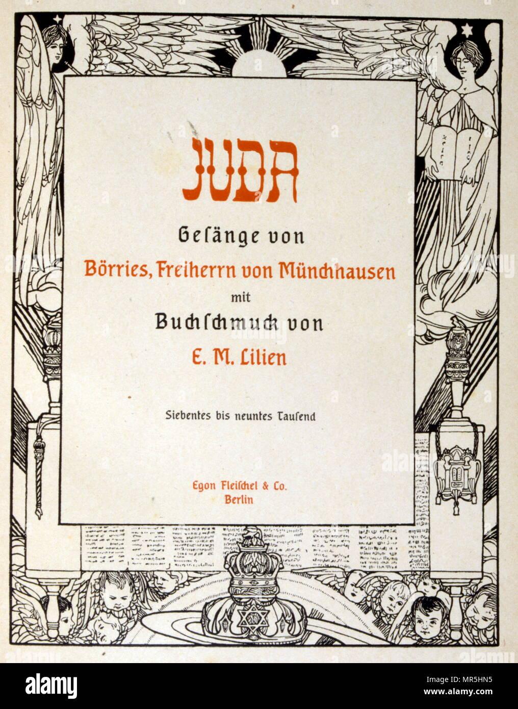 """Juda', une collection de ballades par la non-poète juif Börries von Münchhausen 1874 - 1945. Illustré par Ephraïm Moses Lilien (1874-1925), illustrateur et graveur d'art nouveau, reconnu pour son art sur les thèmes juifs. Il est parfois appelé le """"premier artiste sioniste. La relation de Münchhausen au judaïsme demeure ambivalent: Lauterbourg n'a pas tenu compte de la 'race juive' inférieur, mais simplement à empêcher un """"mélange"""" avec les non-Juifs allemands. Banque D'Images"""