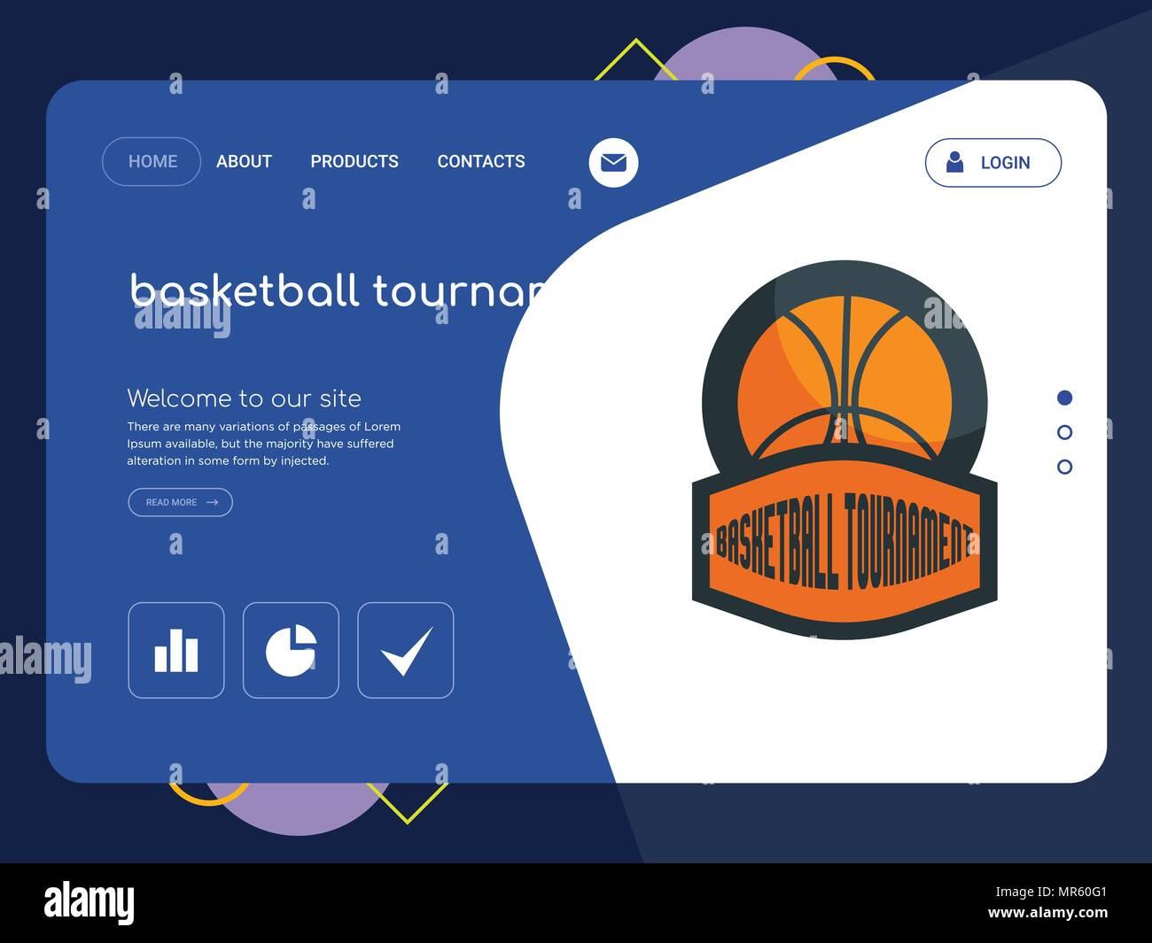 5b6fe5cef03f Un tournoi de basket-ball de qualité La page Modèle de site Web, EPS  vectoriel Web Design moderne avec télévision et des éléments d'INTERFACE  UTILISATEUR ...