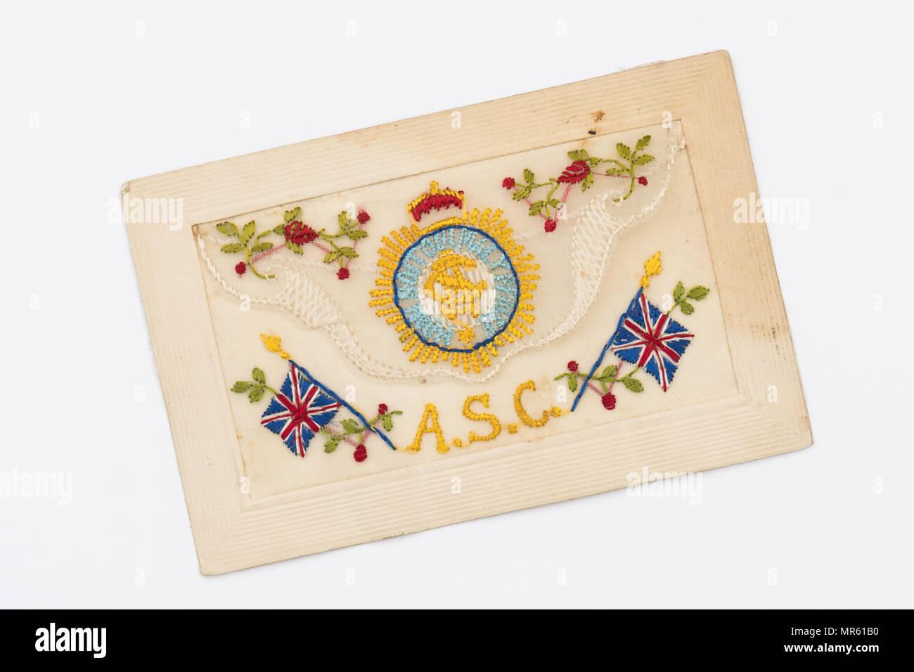 Army Service Corps Première Guerre mondiale carte postale de soie brodée Photo Stock