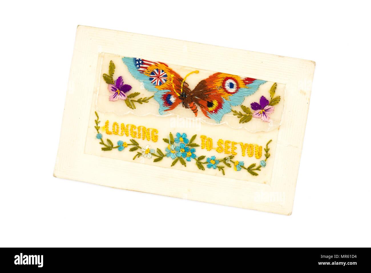 """Première Guerre mondiale carte postale de soie brodée main 'envie de vous voir"""" - voir l'image MR61FC pour le message écrit au dos Photo Stock"""