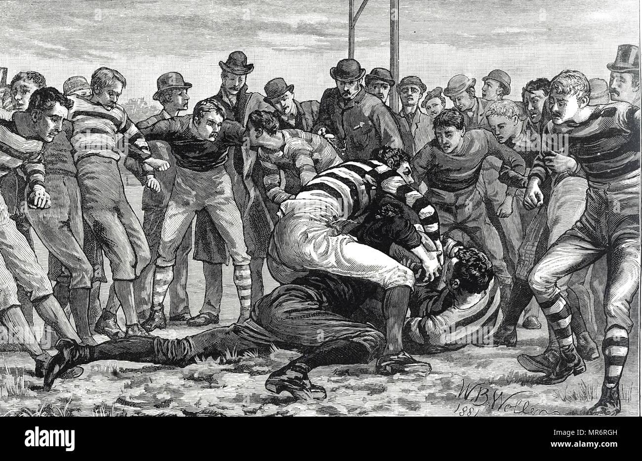Gravure illustrant les hommes à jouer au rugby. Les règles de Rugby à dire qu'humains tentent d'empêcher l'opposition d'essayer. En date du 19e siècle Photo Stock
