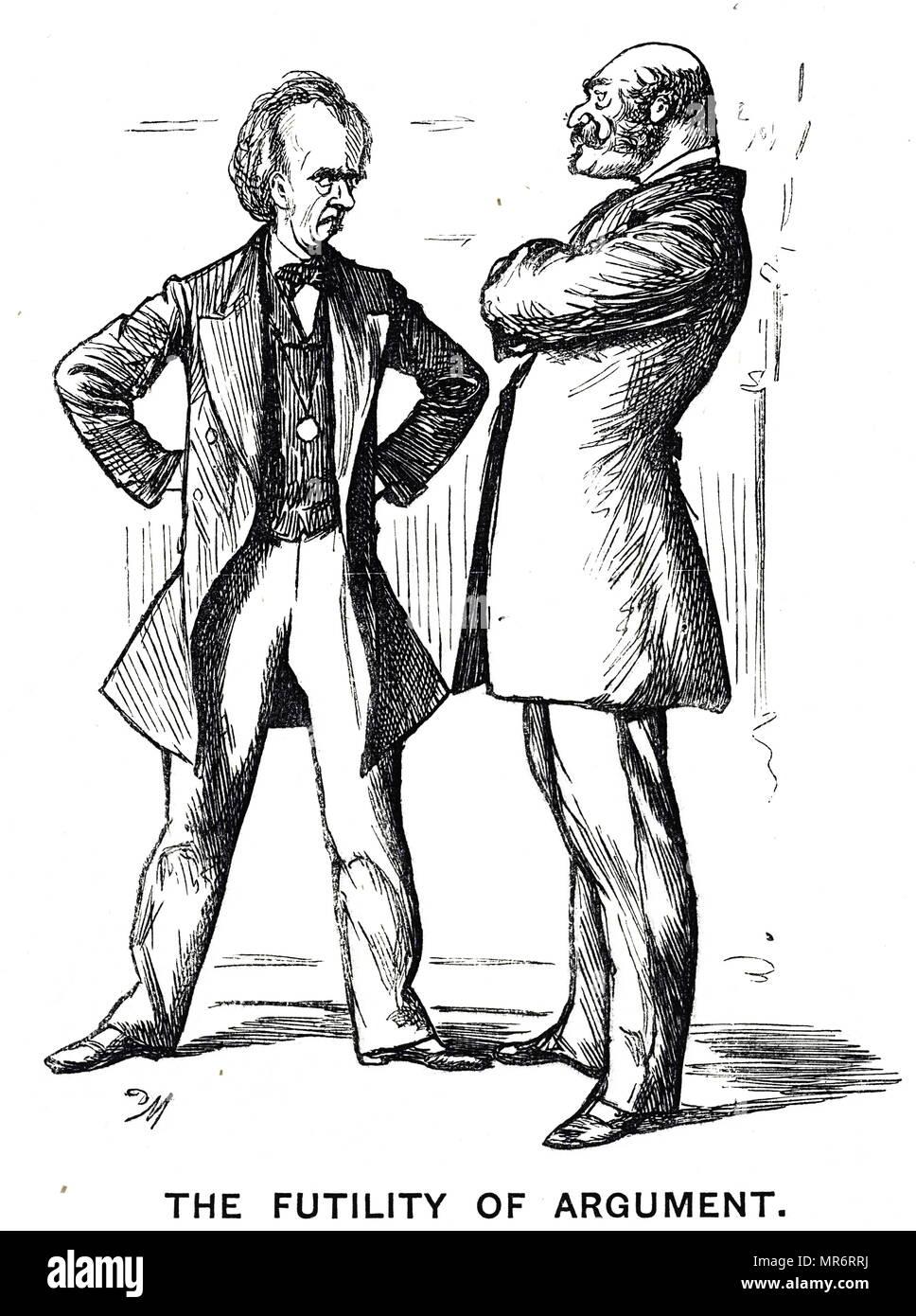 """Caricature intitulée 'L'argument de la phrénologie - again' avec la légende """"l'inanité de l'argumentation"""". Illustré par George du Maurier (1834-1896), un caricaturiste franco-britannique et l'auteur. En date du 19e siècle Photo Stock"""