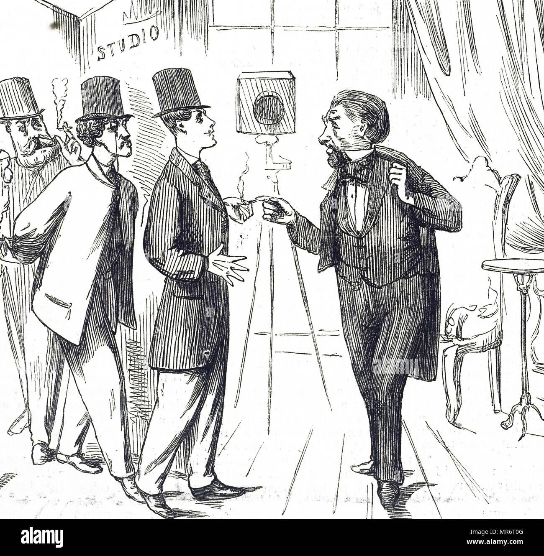 Caricature montrant des hommes faisant la queue pour avoir leurs portraits photographiques prises. En date du 19e siècle Photo Stock