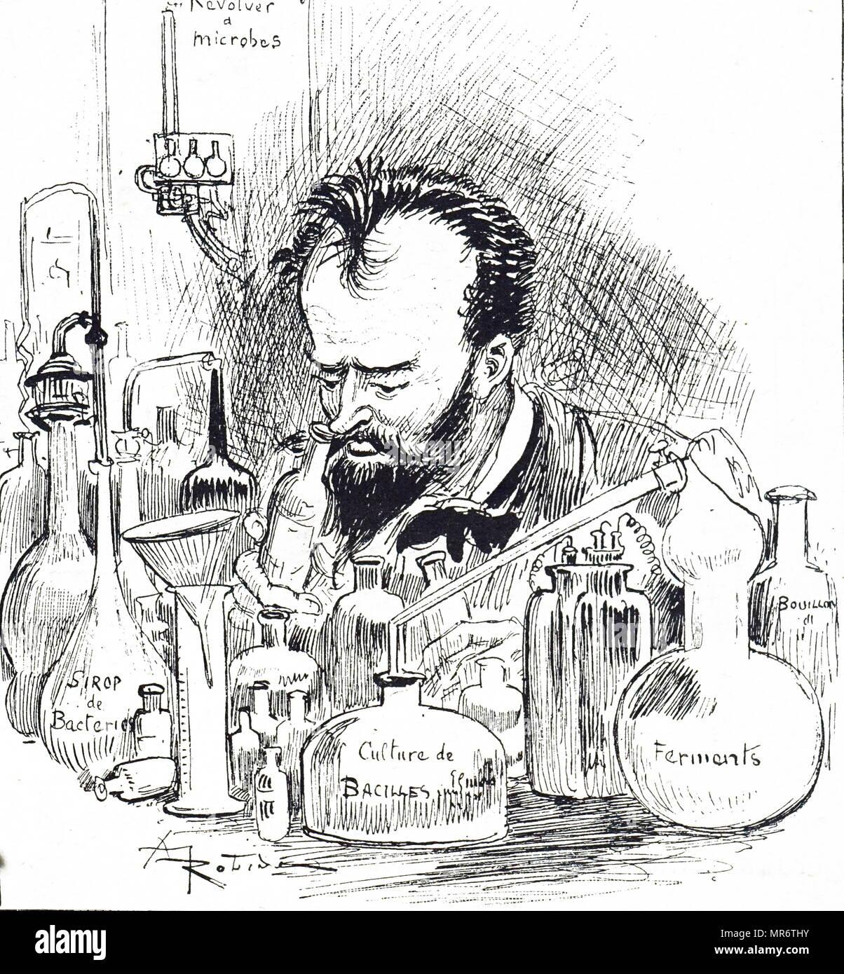 Caricature montrant un ingénieur biologiste dans son laboratoire . En date du 19e siècle Photo Stock