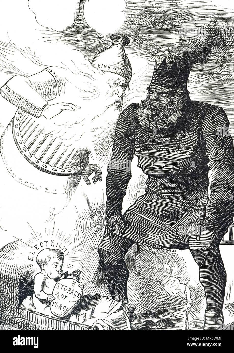 Cartoon commentant les débuts de l'électricité. Illustré par John Tenniel (1820-1914), un illustrateur anglais, graphique, humoriste et caricaturiste politique. En date du 19e siècle Photo Stock