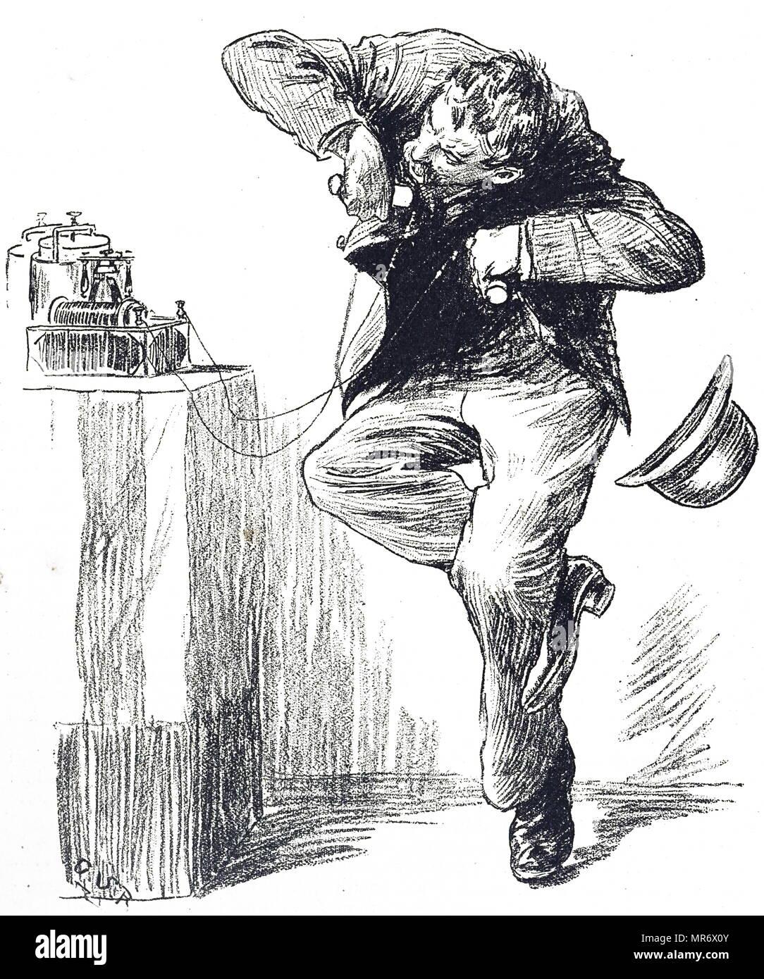 Gravure représentant un homme ayant une direction dans la pile galvanique qui choquerait la personne maintenant. En date du 19e siècle Photo Stock