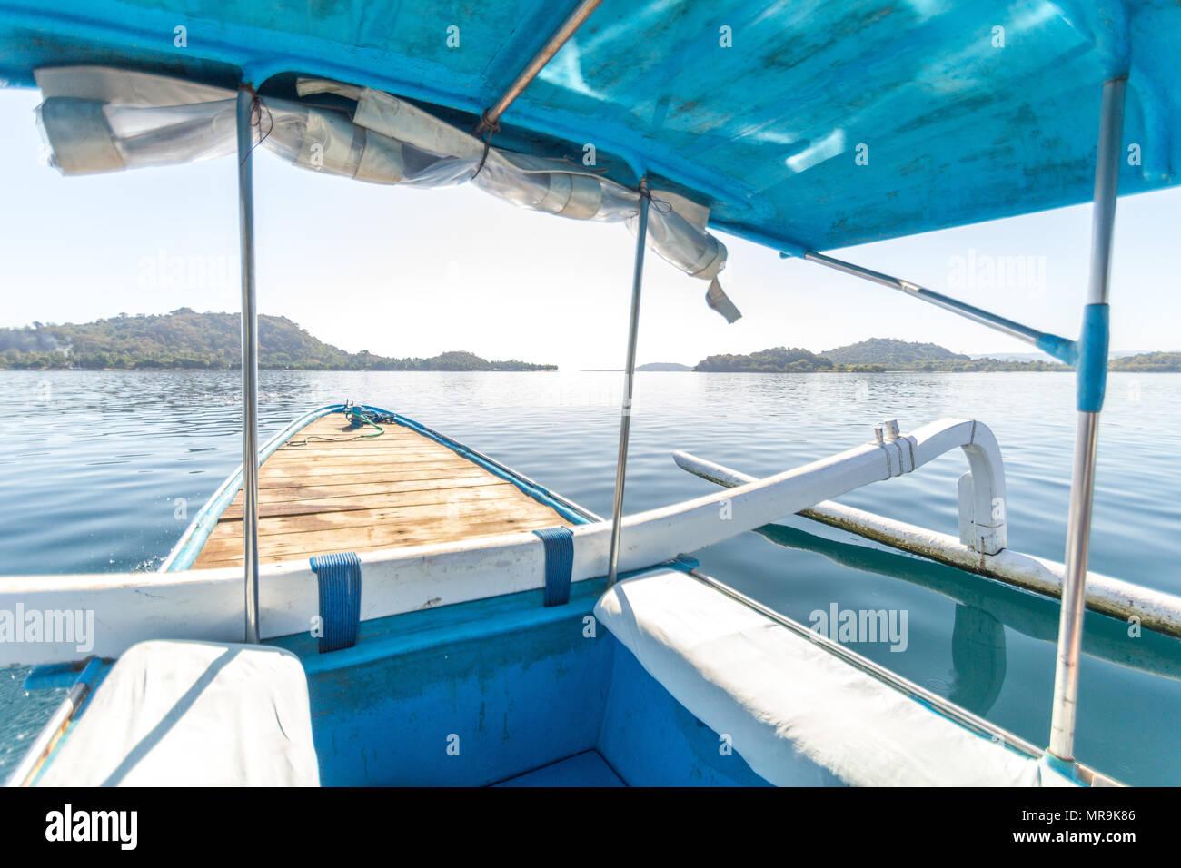 Voyage en bateau, l'île de Gili, Indonésie Photo Stock