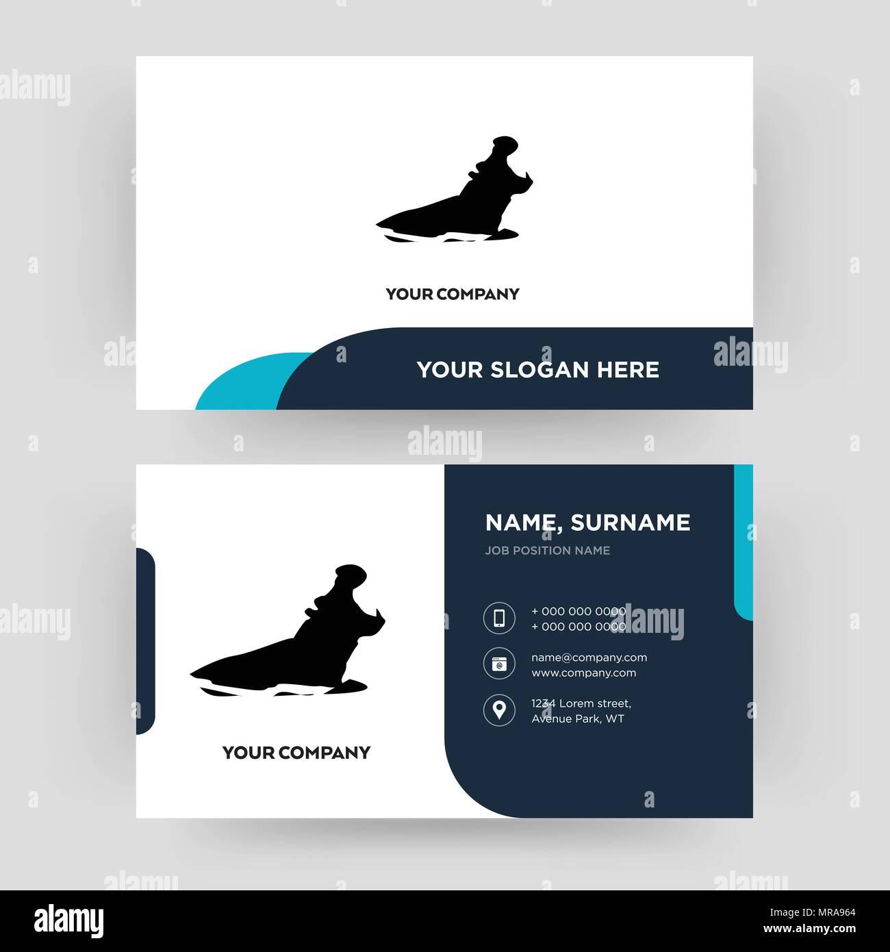 Lhippopotame Le Modle De Conception Carte Visite Pour Votre Entreprise Crative Et Moderne Didentit Propre Vector