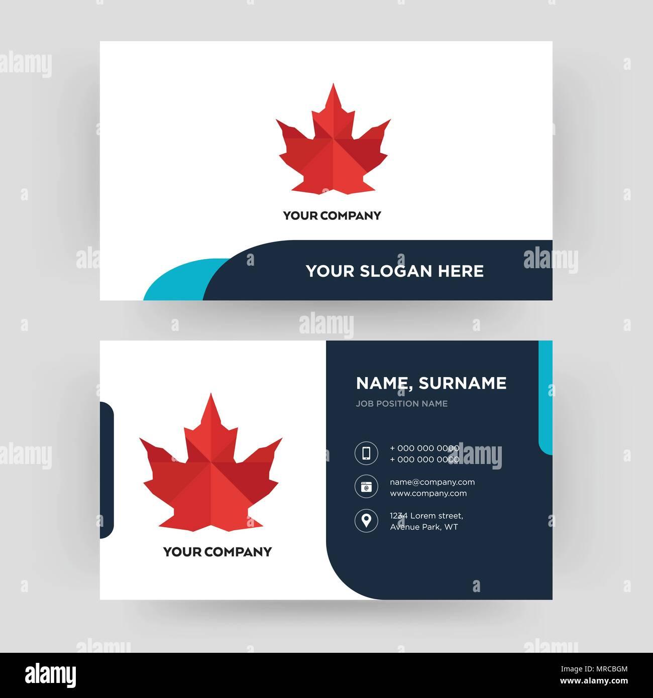 Canada Feuille Carte De Visite Modle Conception Pour Votre Entreprise Crative Et Moderne Didentit Propre Vector