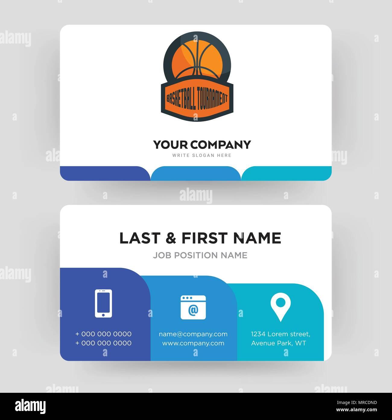 Tournoi De Basket Ball Carte Visite Modele Conception Pour Votre Entreprise Creative Et Moderne Didentite Propre Vector