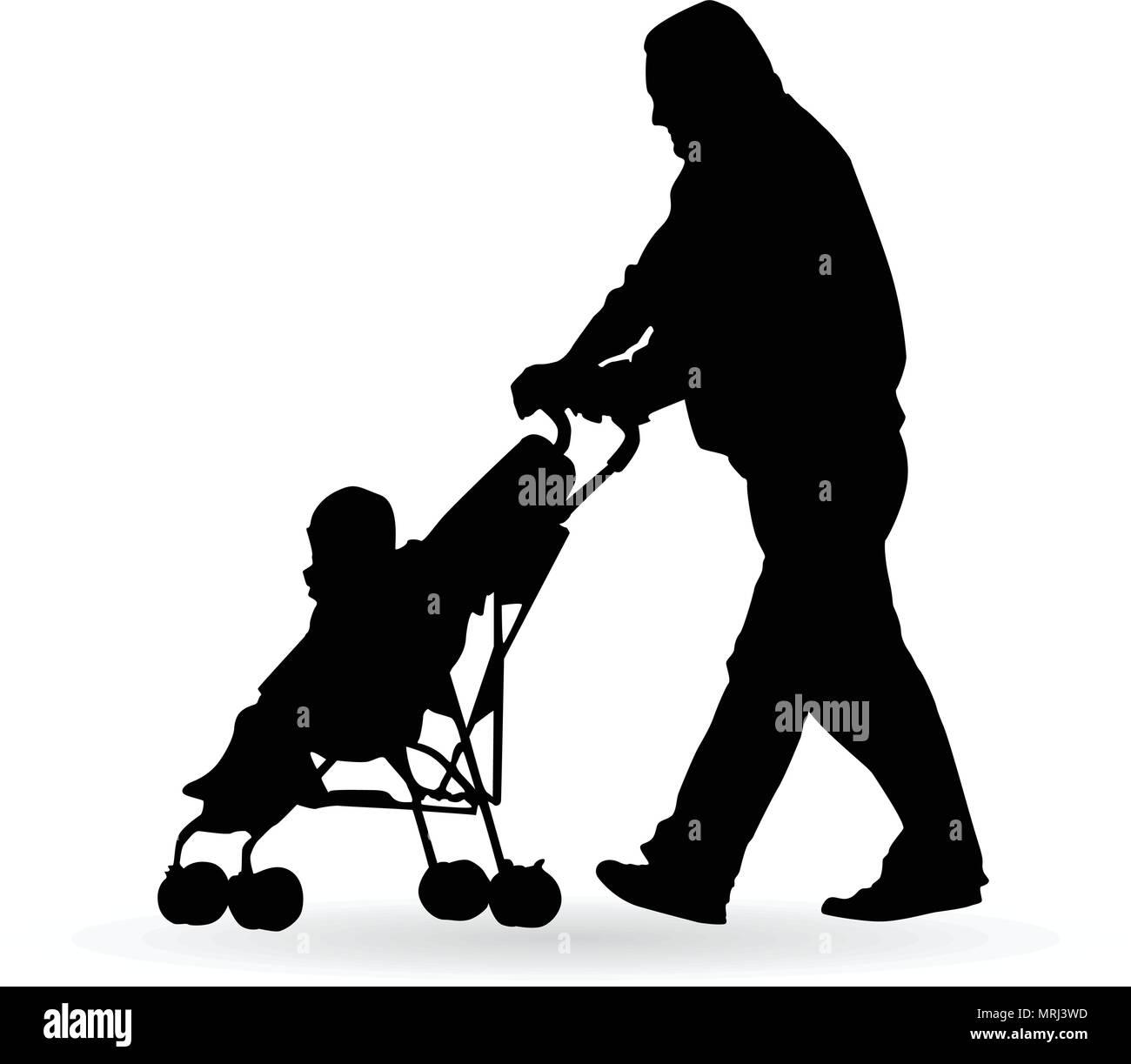 Homme poussant un landau avec un petit enfant silhouette vector illustration Photo Stock
