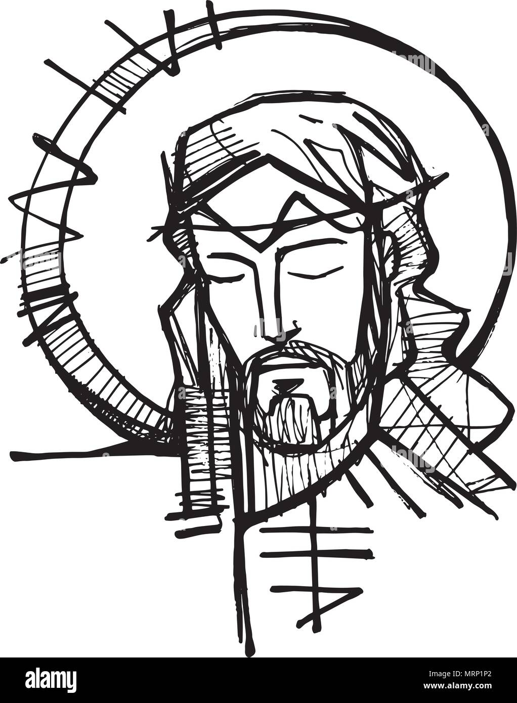 Illustration A La Main Ou Un Dessin De Jesus Christ Face A Sa