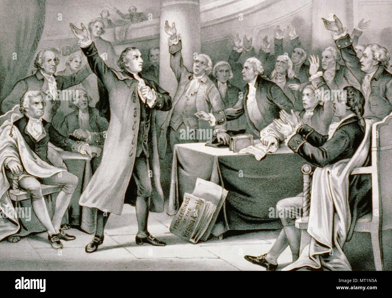 """Patrick Henry (1736 - 1799) procureur américain, semoir, et orateur bien connu pour sa déclaration: """"Donnez-moi la liberté, ou me donner la mort!"""" Photo Stock"""