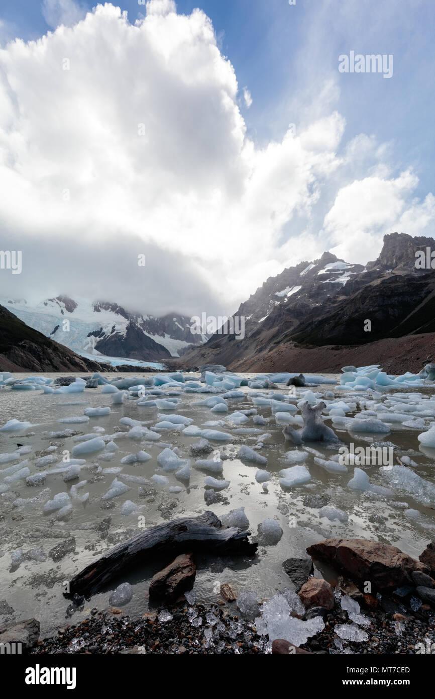 De petits blocs de glace dot la rive d'un lac glaciaire à Fitzroy en Argentine Photo Stock