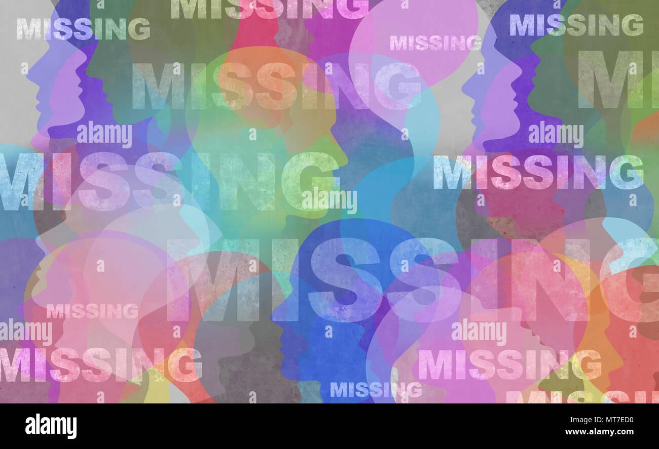 Concept de personne disparue comme des personnes qui ont disparu ou en fugue et enlèvement d'crime impliquant un symbole individuel dans un style 3D illustration. Photo Stock