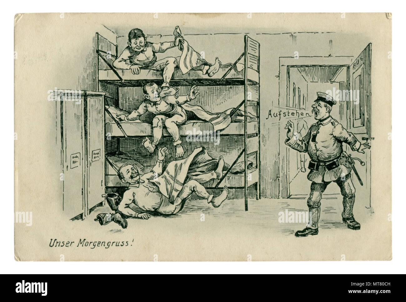 """Carte postale militaire historique allemand: humour:'nos souhaits matin!' Le Feldwebel hurle ' prends!"""" Service de soldats dans l'armée. la première guerre mondiale 1914-1918 Banque D'Images"""