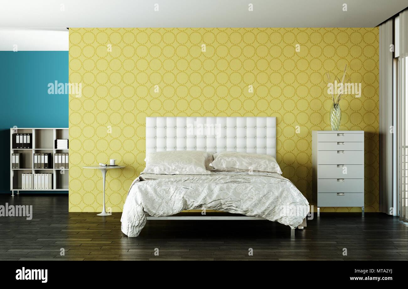 Chambre à coucher moderne avec lit king-size et d\'un décor ...