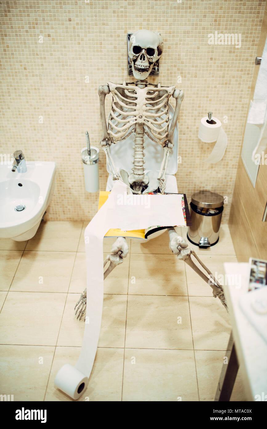 Squelette Humain Avec Livre La Main Assis Sur Les Toilettes Dans