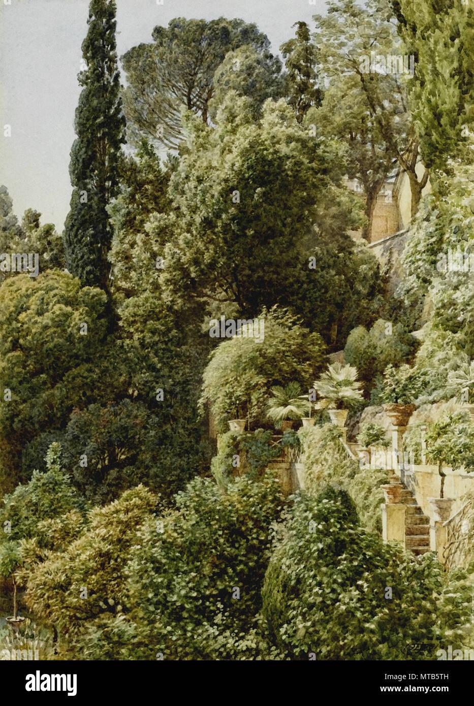 Edward Poynter Vue Sur Une Terrasse Italienne Banque D Images