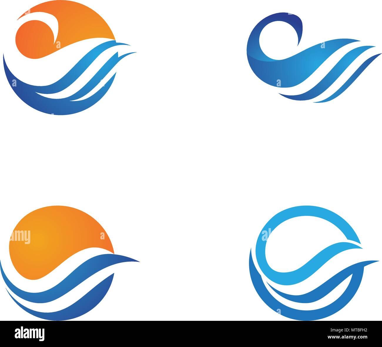 Banque Vectorielle l'icône de l'onde de l'eau logo design illustration vectorielle