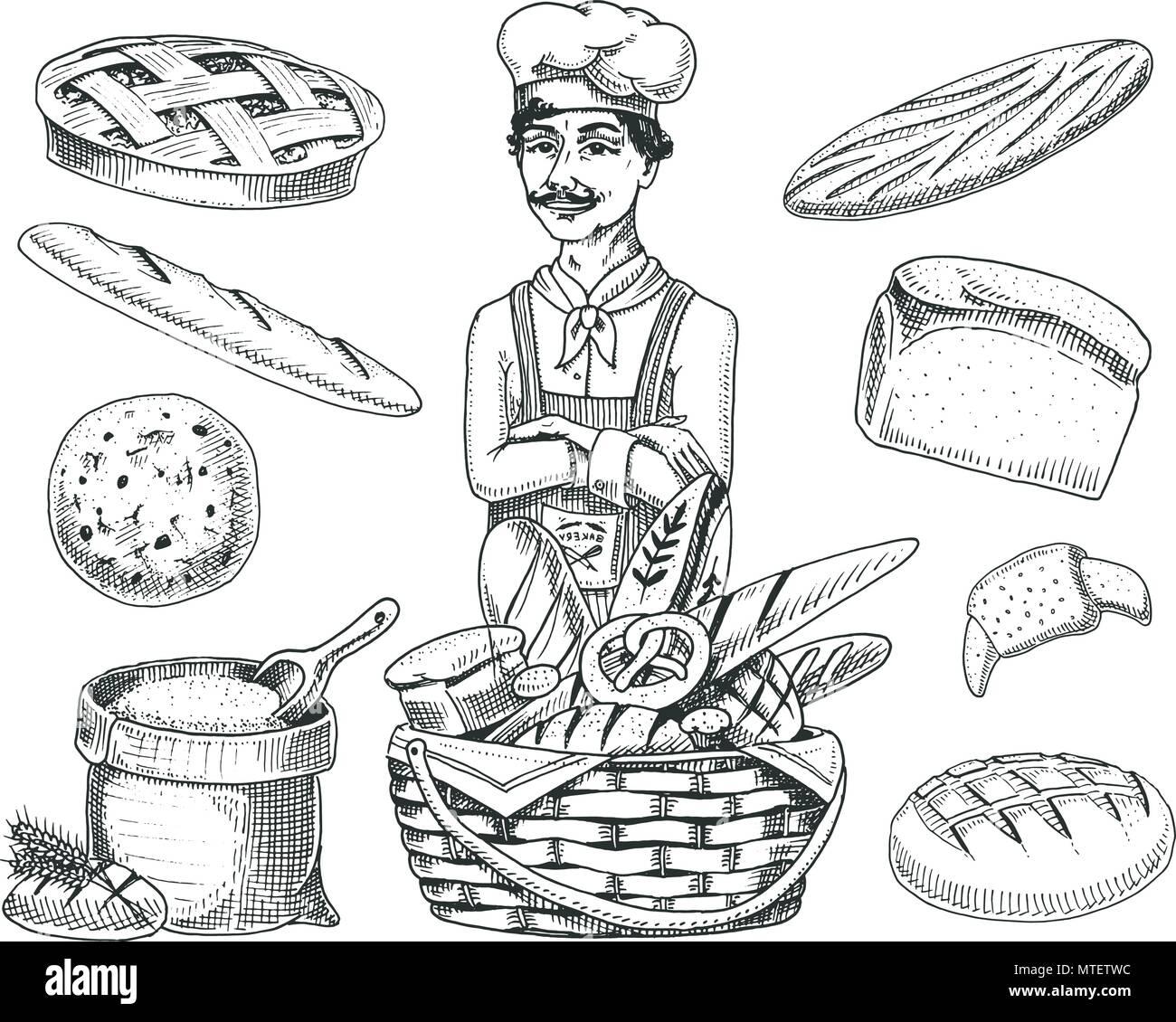Culinary patron, chef de cuisine, Baker en tablier. Sac avec ...