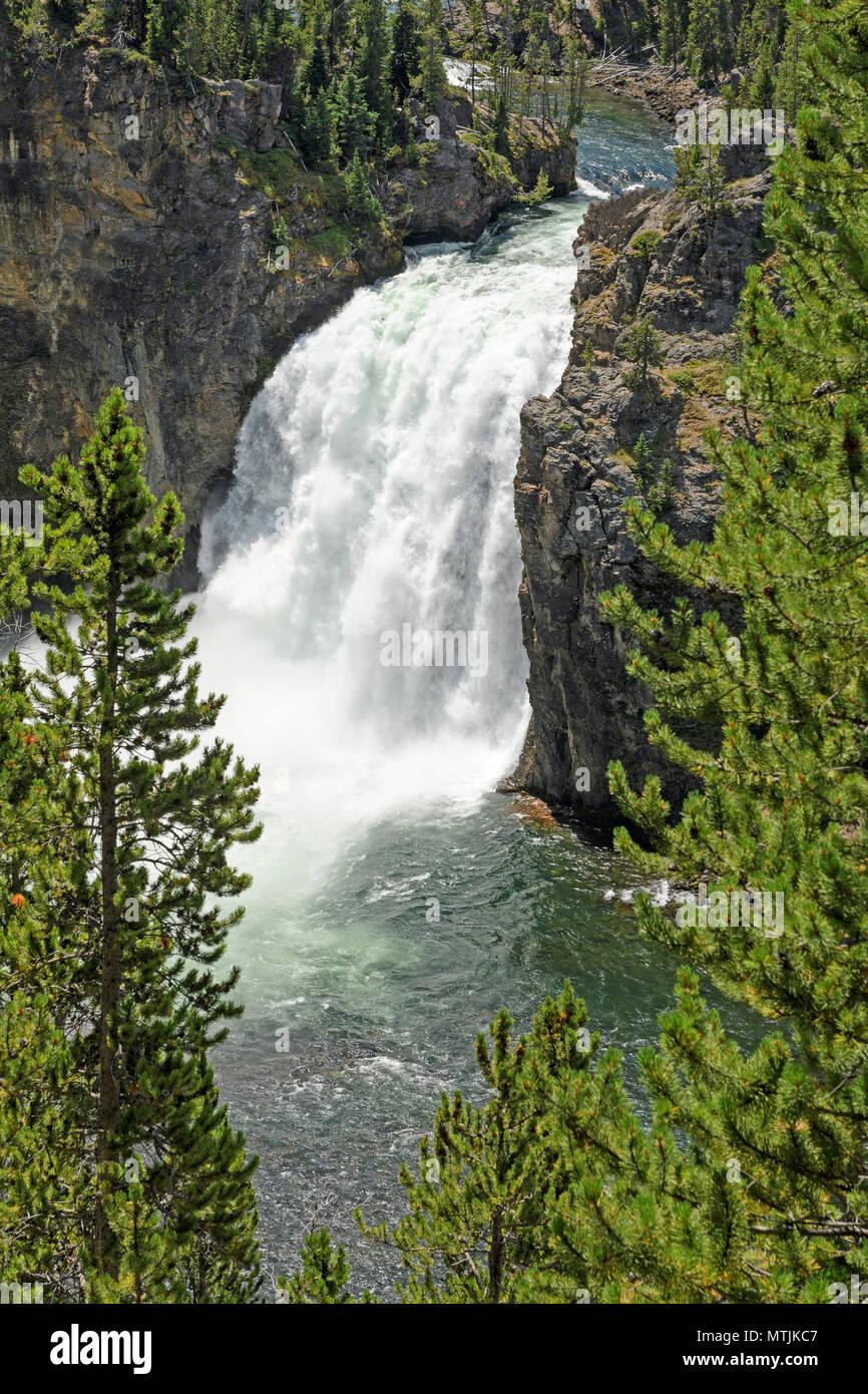 Dramatique, la région de Yellowstone falls in Yellowstone Canyon du Parc National de Yellowstone dans le Wyoming Banque D'Images
