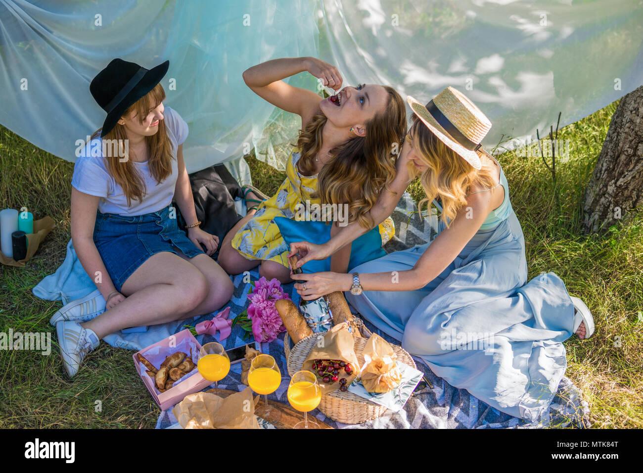 Groupe de filles faisant des amis de plein air pique-nique Photo Stock
