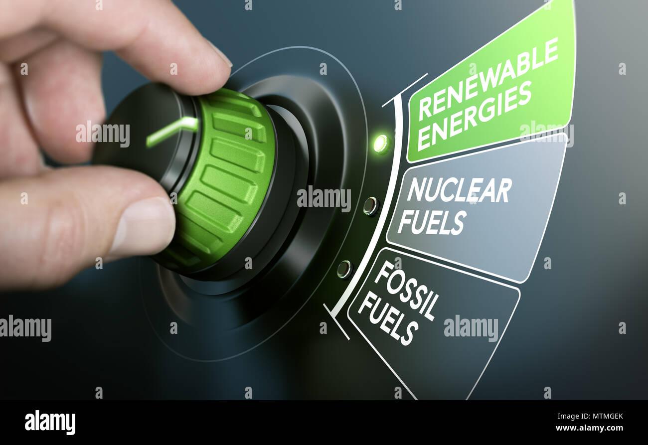 L'homme de transformer une transition énergétique touche pour passer des combustibles fossiles aux énergies renouvelables. Image composite entre une main et la photographie 3D'un background Photo Stock